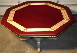 Deluxe Octagon With Brass Cup Holders, Maple Wood, Natrual Gloss Finish,  Burgundy Felt And Merlot Vinyl ...